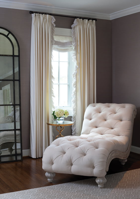 In the corner, a chaise from Tuscany Designs in Frederick, Maryland, creates a feminine vibe.