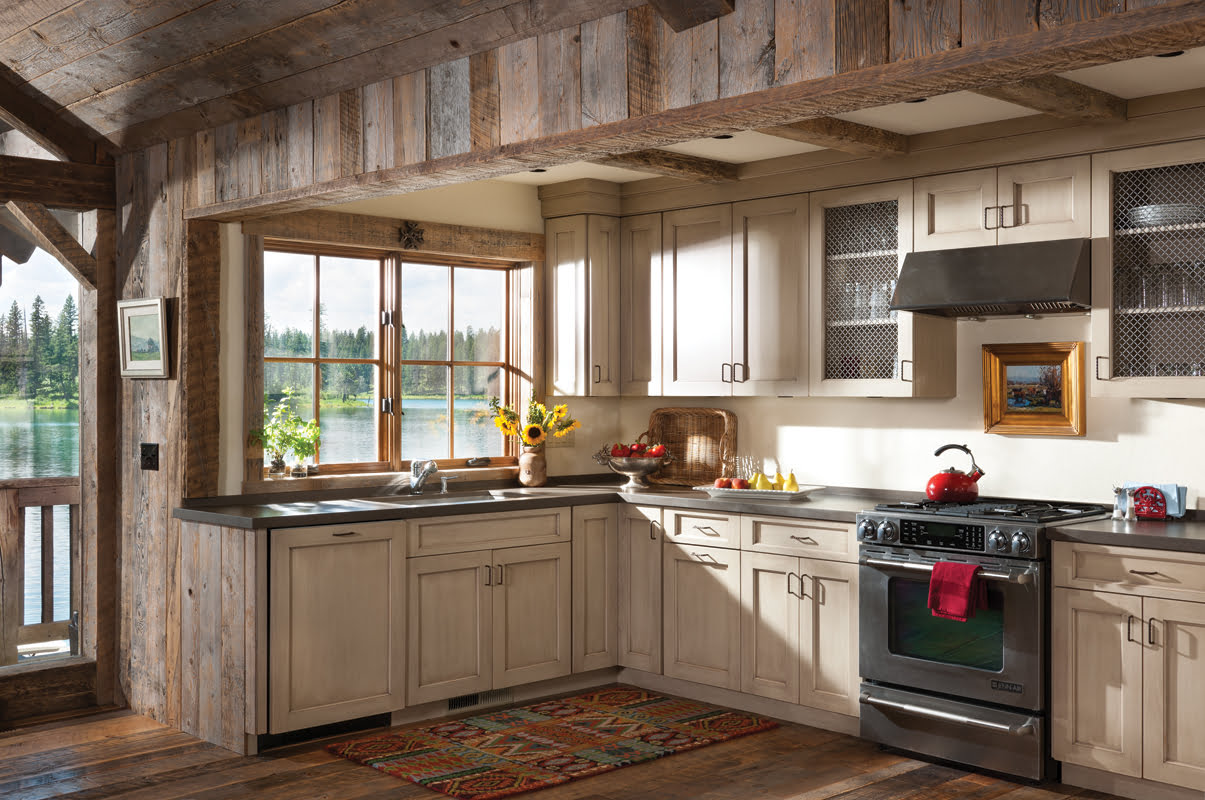 The kitchen has been upgraded with painted cabinetry and Silestone countertops.