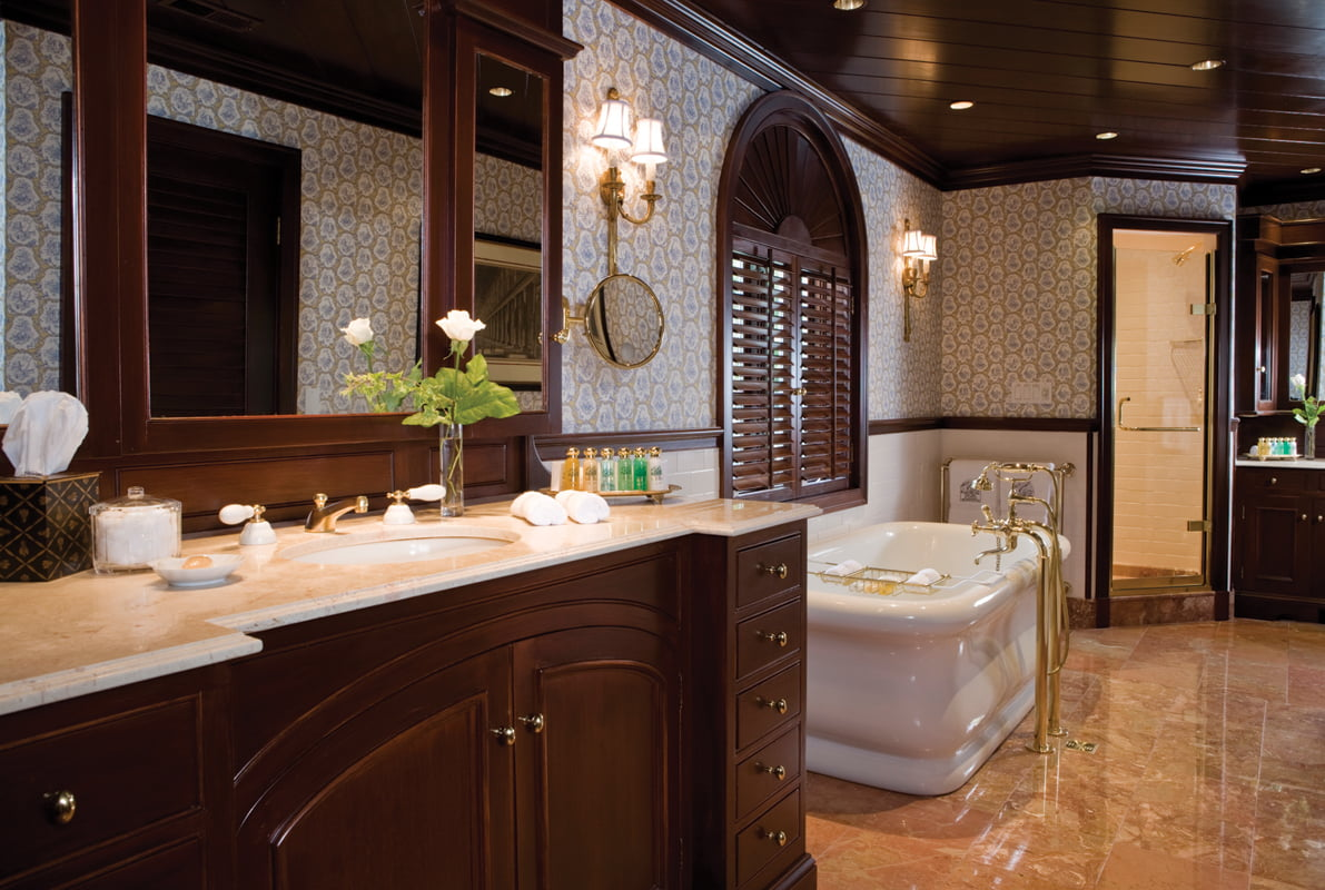 In The Master Bath, Custom Mahogany Millwork Was Crafted By Local Artisans.