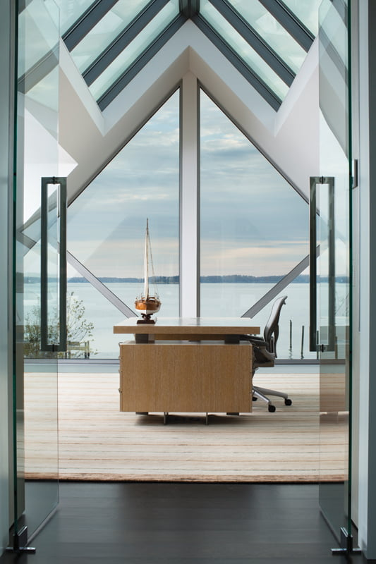 The owner's office boasts unencumbered water views.