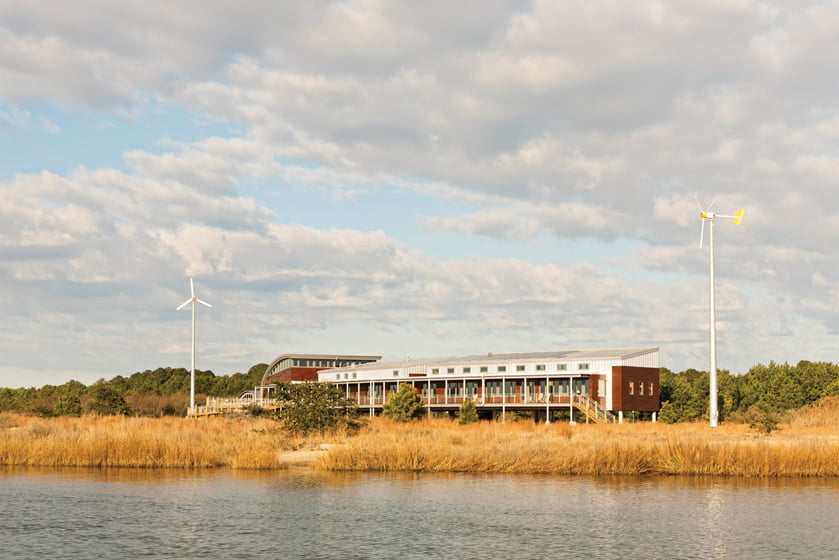 The Brock Environmental Center boasts water views.
