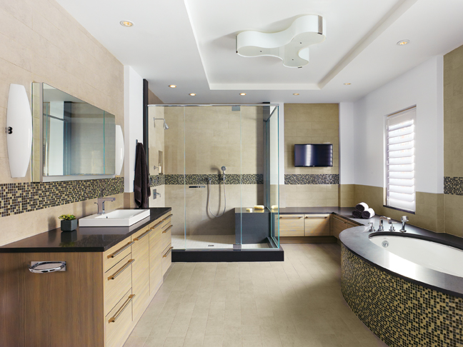 The bath extends into a bench with storage under it and terminates in a glass-enclosed shower.