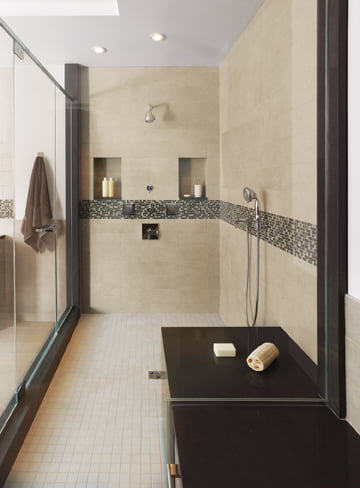 The shower boasts hand sprays and thermostatic controls.