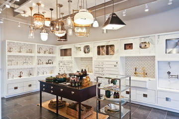 Waterworks' newly renovated Georgetown showroom displays an array of lighting and hardware options.