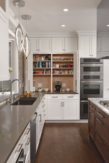 Pantry cupboards are concealed behind a wall of cabinetry.