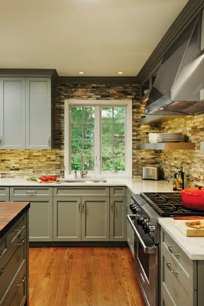 Clever cabinetry placement added function throughout.