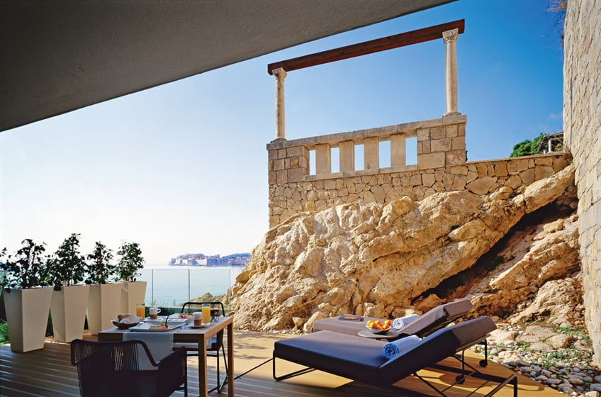 The terrace of the Romance Suite at Villa Dubrovnik.