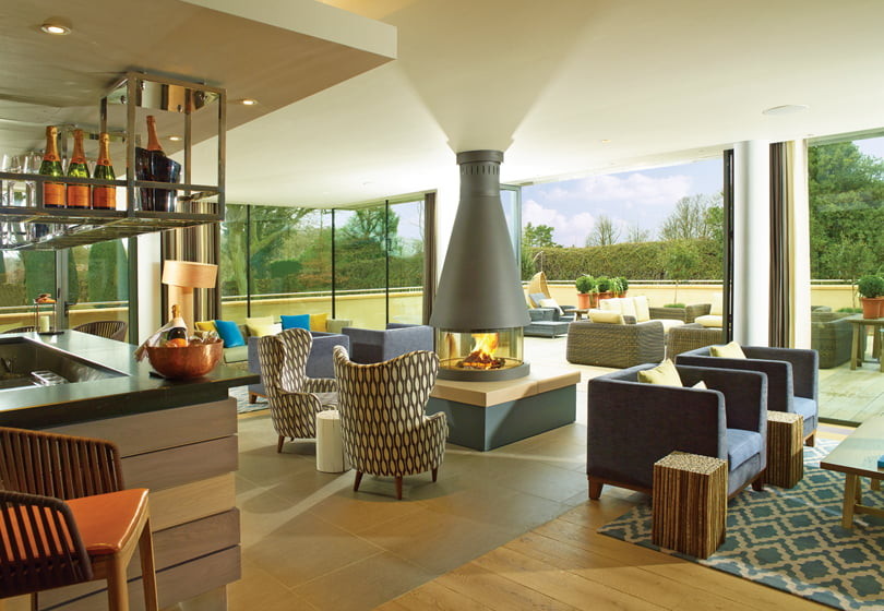 Dormy House Hotel's Scandinavian-style spa with an open-air lounge.