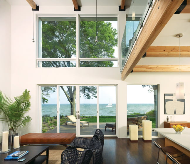 A great room by Studio TwentySeven Architecture overlooks the Potomac where it meets the Chesapeake Bay.