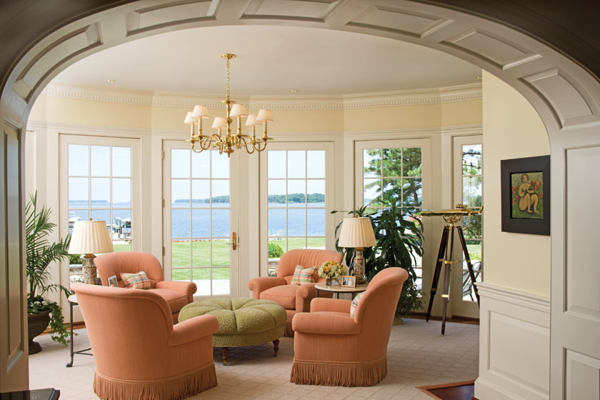 A conservatory designed by Gerald Smith with stunning Miles River vistas.
