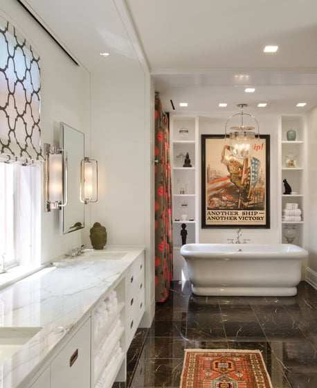 A stand-alone tub creates a focal point in the master bath.