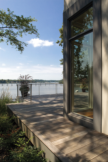 For a custom home on the South River, Lundberg Builders constructed a deck out of meranti mahogany paired with stainless-steel railings.