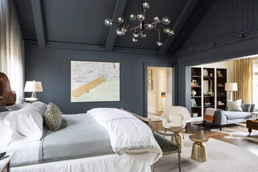 The master bedroom, by Christopher Patrick Interiors, LLC.