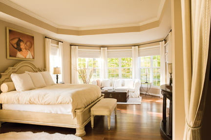 The master bedroom was furnished by Morgan.