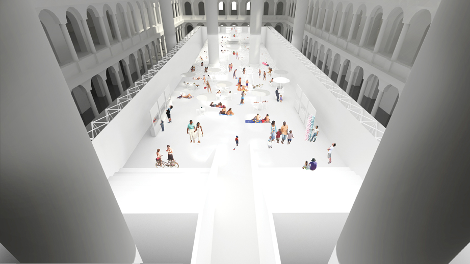 A rendering of The Beach, at the National Building Museum.