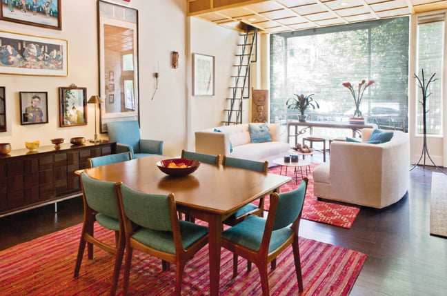 In a Dupont Circle home, Almonte furnished open living and dining areas in clean-lined, Asian style. Photo © Robert Dodge
