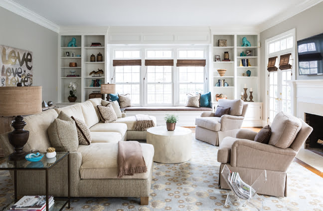 "A cozy family room features ""relaxed"" furniture and fabrics."