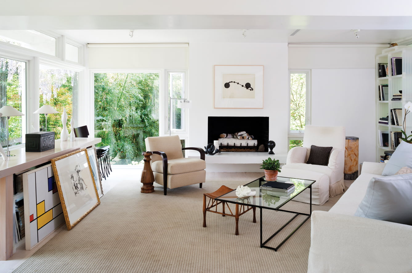 The living area reflects Gary Lovejoy's clean-lined, contemporary aesthetic.