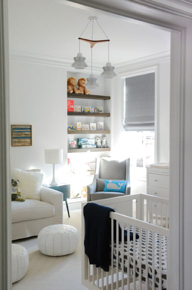 A pristine nursery incorporates easy-to-clean textiles. © Abby Greenawalt