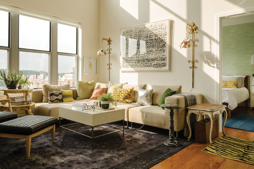 Lanteri mixed a CB2 sectional with vintage pieces in her own Arlington loft. © John Magor