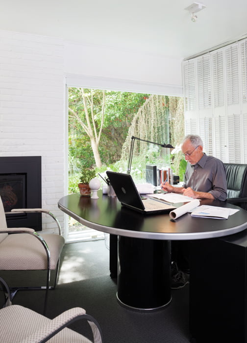 Lovejoy runs his design studio out of his lower-level home office.