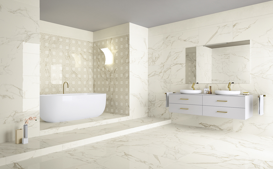 The Marmi Vista Porcelain tile collection from Country Floors.
