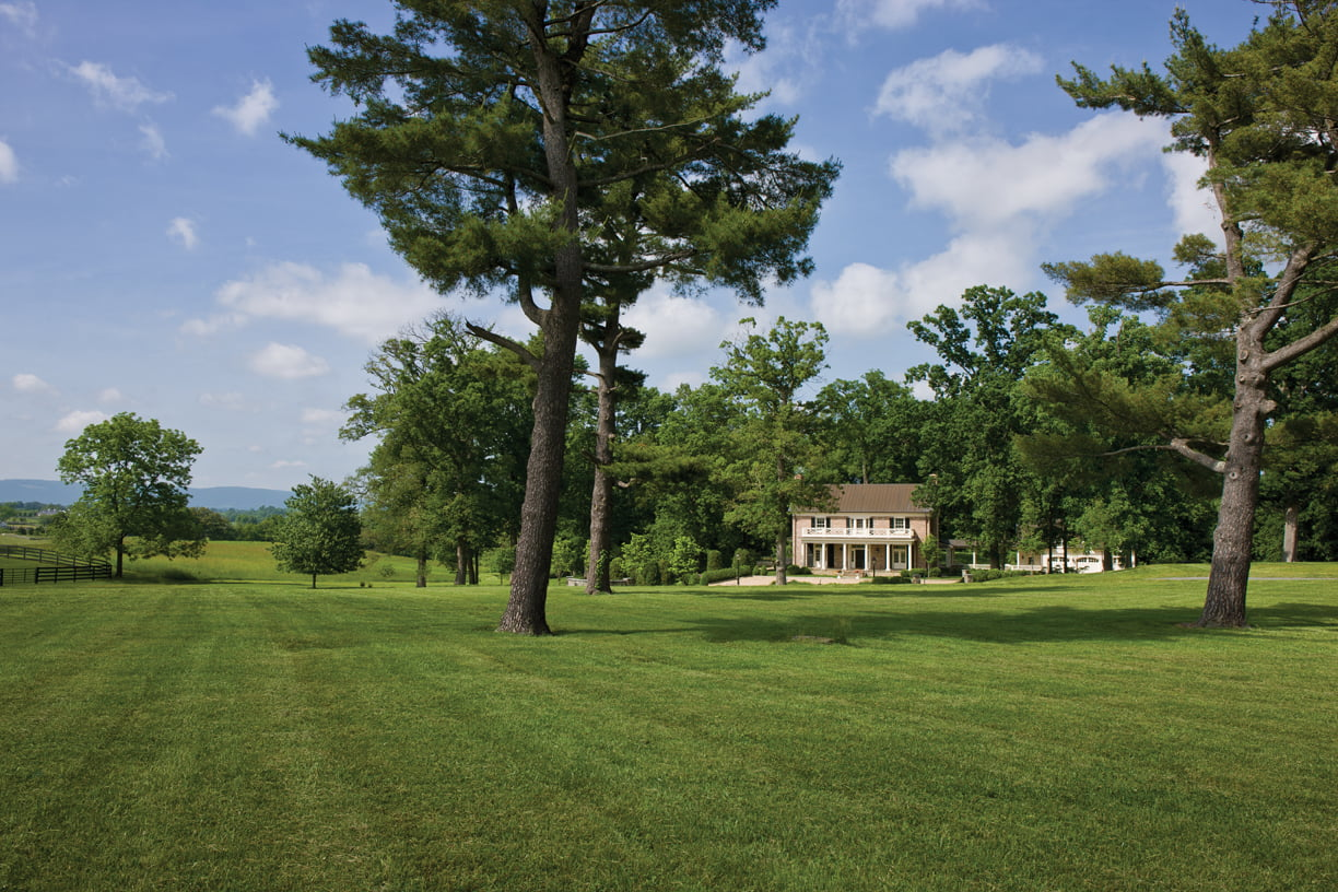 Built onto a mid-20th-century cottage, the addition was designed to look like the primary structure on the 140-acre horse farm near Middleburg.