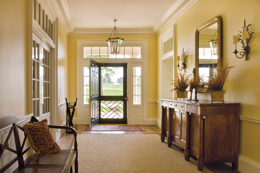 In the addition, Buchanan designed a wide center hall typical of the local tradition, borrowing the millwork style  from Thomas Jefferson's designs.