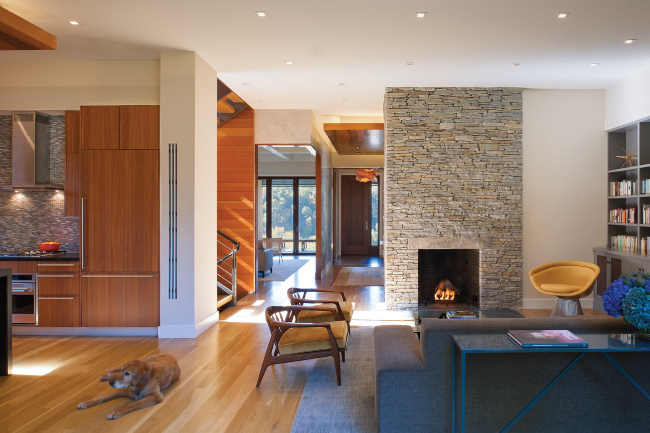 On the home's main level, unobstructed site lines offer views to the outdoors on both sides of the house.