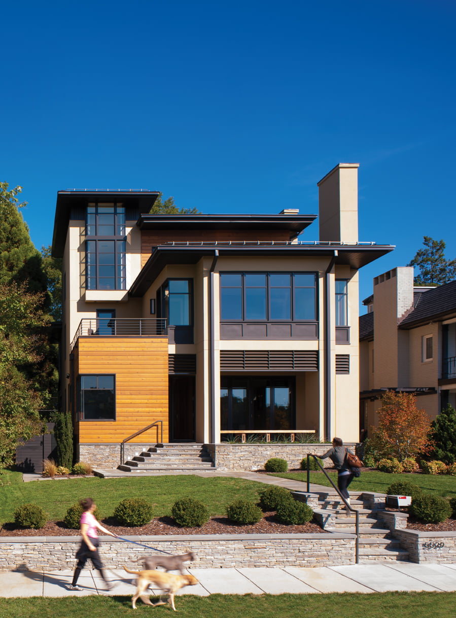 Volumes clad in stucco, Douglas fir and stone offer a modern interpretation of Prairie-style architecture.