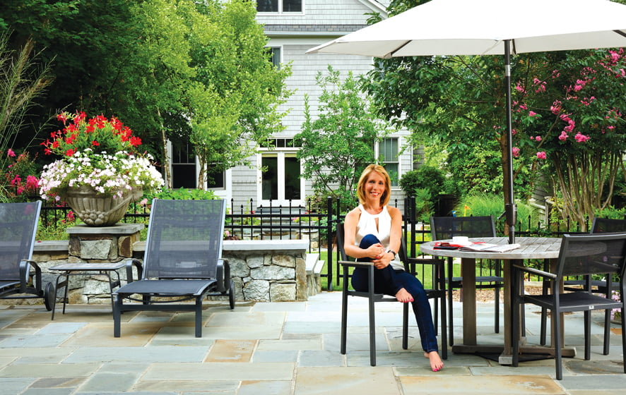 Dana Bash relaxes poolside outside her DC home.