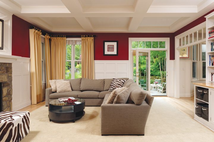 With a comfortable sectional by A. Rudin,  the family room offers plenty of space to relax.