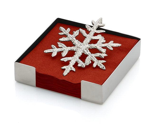 The Snowflake Cocktail Napkin Holder by Michael Aram, $59. michaelaram.com