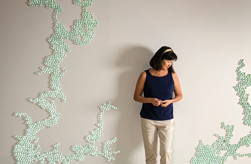 A depiction of the Chesapeake Bay in marbles by Maya Lin. © Ron Blunt