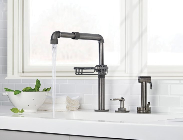 The Elan Vital Monoblock Kitchen Faucet from Watermark.