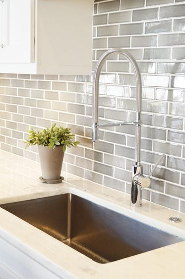 A glazed-tile backsplash from Country Floors.