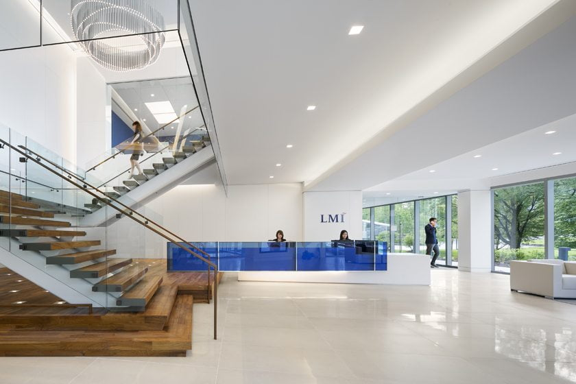 The spacious and airy reception area of LMI's headquarters.