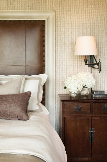 The master bedroom has a masculine vibe.