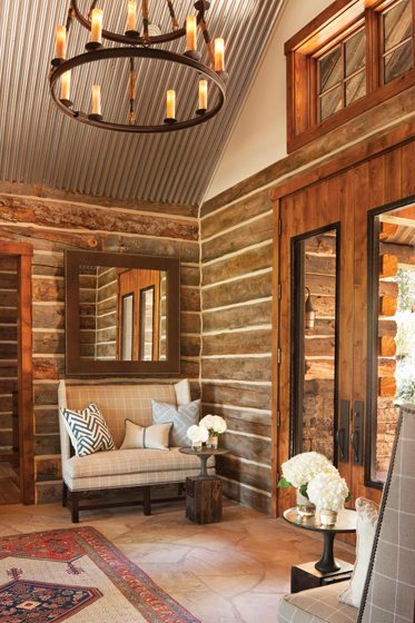 A corrugated-tin ceiling enlivens the front entry.