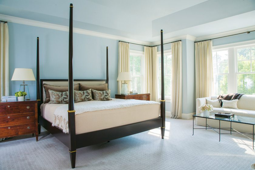 A Maxine Snider bedstead and  David Iatesta nightstands occupy the restful master bedroom.