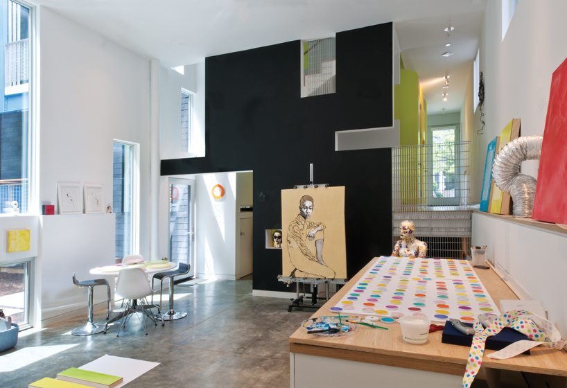 Situated at the back of the home, Jackie Hoystead's studio has a high ceiling and concrete floors.