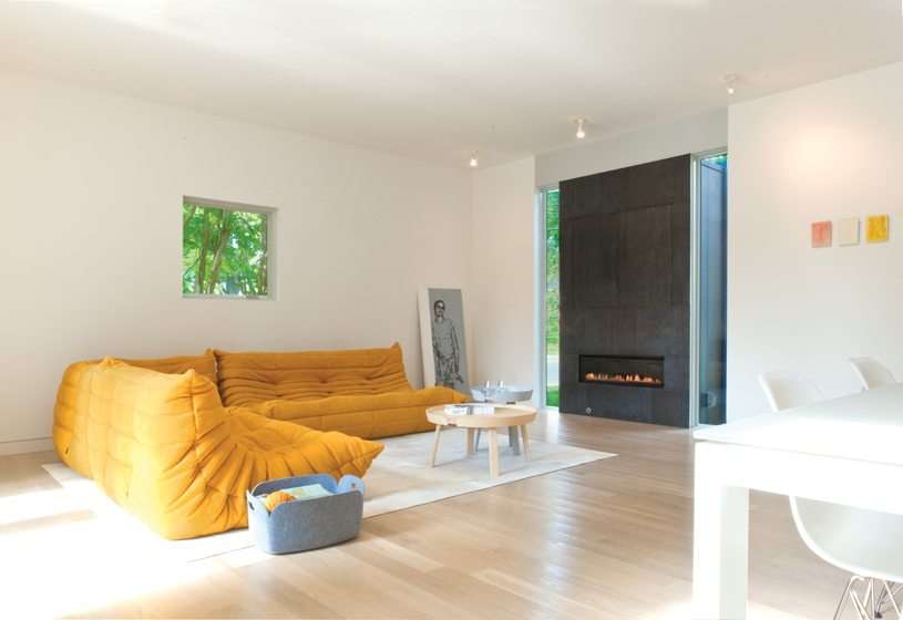 In the living area, a Ligne Roset sofa faces a steel-clad fireplace.