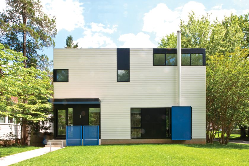 Blue accents animate the front façade.