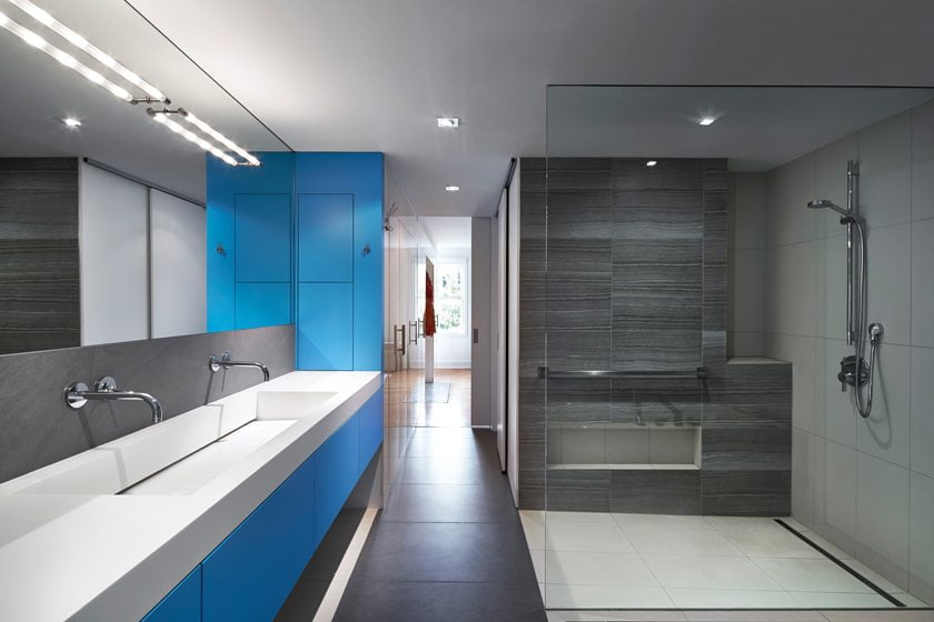 Modern metaphor home design magazine for Sky blue bathroom designs