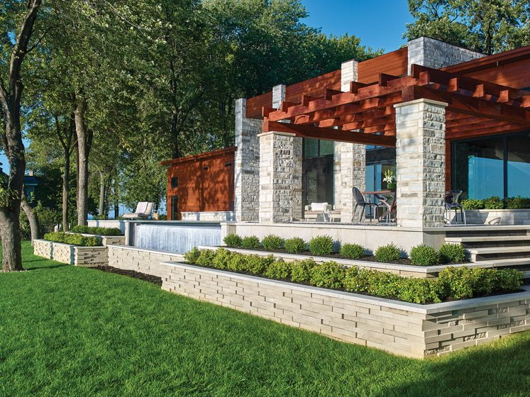 The Graphix double-sided retaining wall by Techo-Bloc.