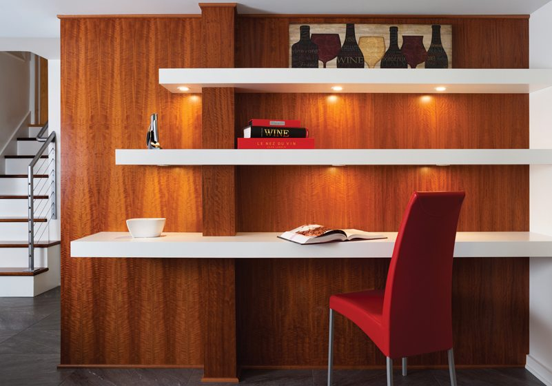 Exotic figured sapele was used in the desk area as well as the wine room.