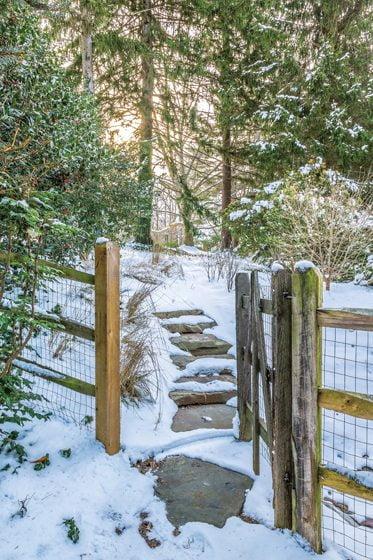 A snowy stone path.