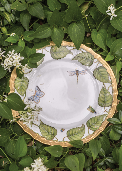 Colorful blossoms, finely veined leaves and trademark insects set Weatherley's wares apart.