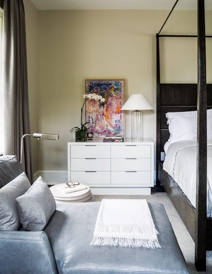 Abel designed the chic, white-lacquered chests and nightstand.