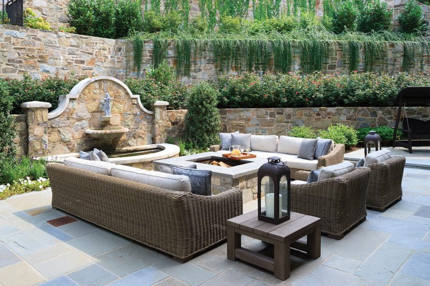 Guests can gather around a fire pit on the flagstone patio.